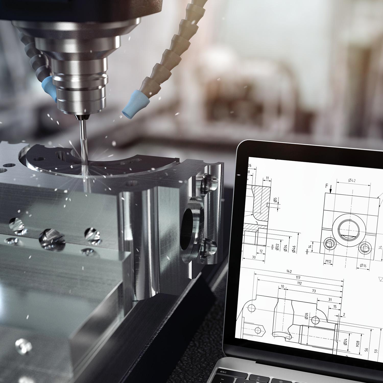 3D-Illustration CNC-Fräse mit Notebook